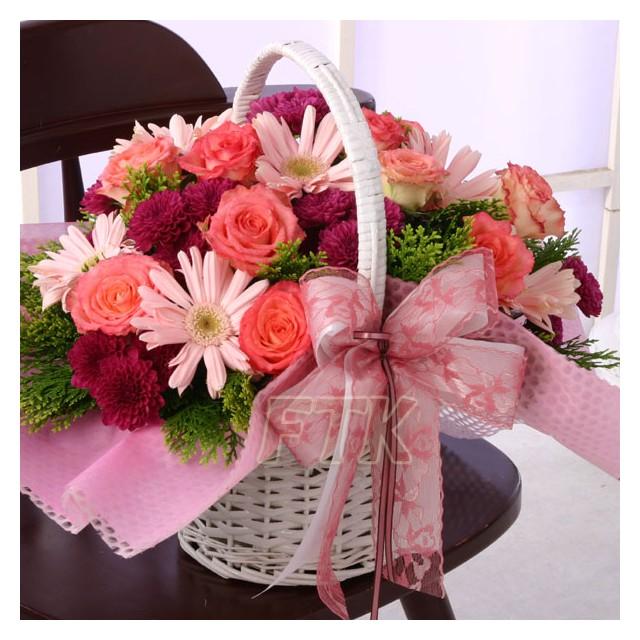 Pink Seasonal Flower Basket