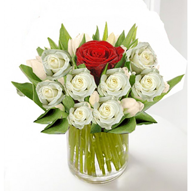 Only You white and Red Roses