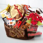 Christmas Poincettia with Cookies and Chocolates