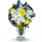 Yellow Rose and White Lily